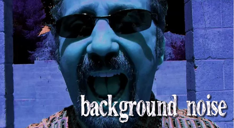 Blue-tinted image of man's face yelling into camera with words Background Noise