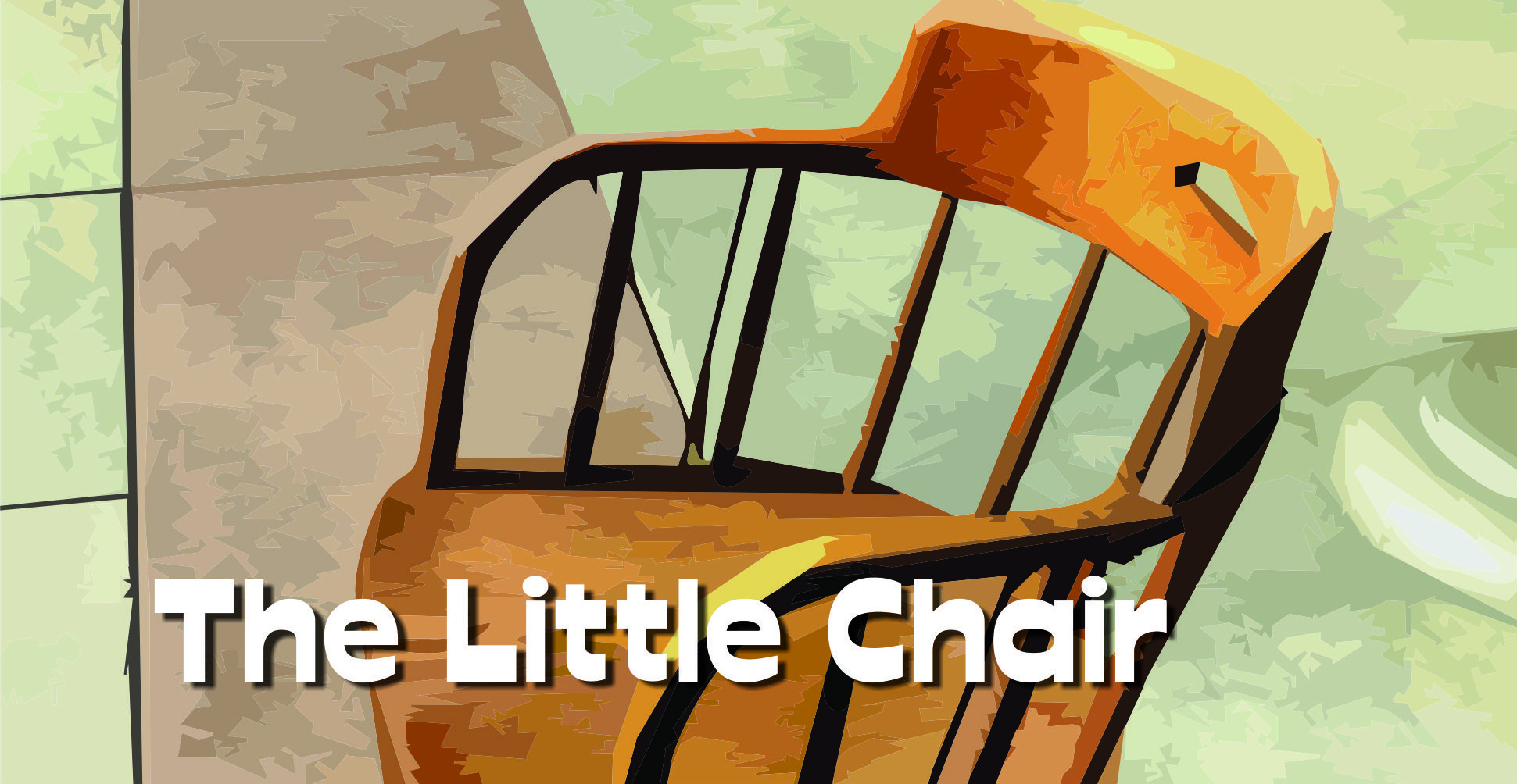 Artwork of a little wooden chair under title of episode