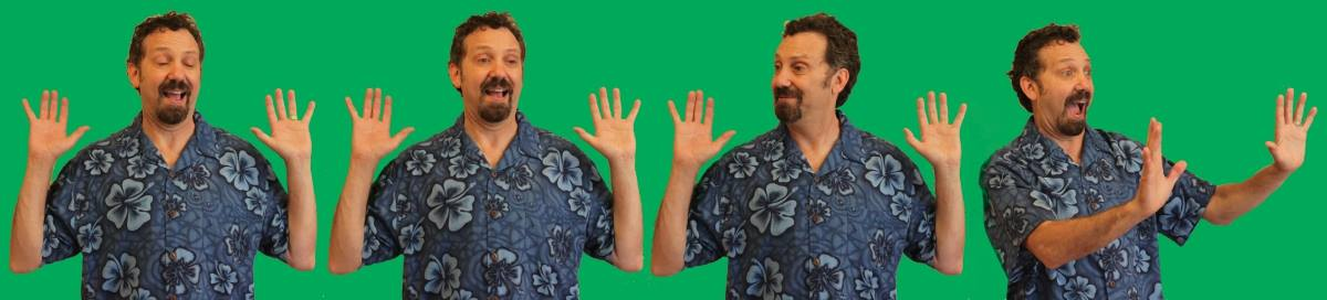 Four different poses of a man in an Hawaiian shirt against a green background